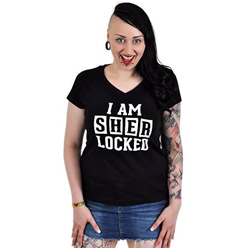 Sherlock - T-shirt per ragazza - I AM SHERLOCKED - T-shirt della serie TV - Maxi stampa - Taglio sagomato, scollo a V - Cotone - Nero - S