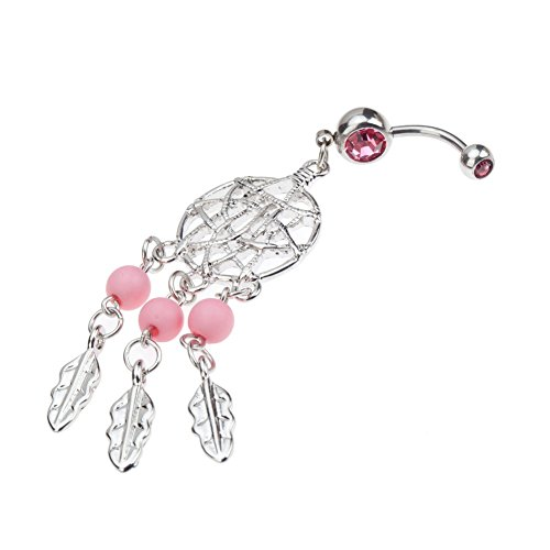 Beautiful High Quality Surgical Steel Belly Button Navel 14 Gauge Curved Bar Bananabell Piercing With Dream Catcher Net Pendant, Pink Pearls Beads,
