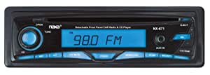 Naxa NCA671 Detachable Stereo AM/FM Car Radio with Compact Disc Player and Aux-In Jack (Black)