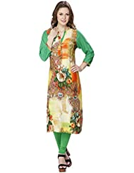 Agroha Women's Beautiful Floral Print Rayon Kurti With 3/4 Sleeves