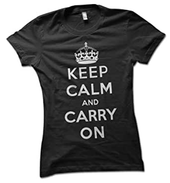 Keep Calm and Carry On Ladies T-Shirt Black Small 8 - 10