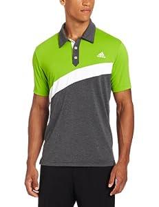 adidas Golf Men's Climalite Angular Color Blocked Jersey Polo, Gardena/Black Heather/White, Medium