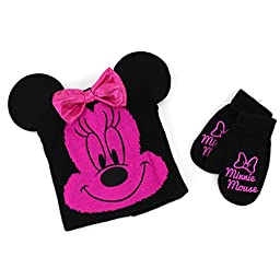 Disney Nickelodeon Toddler Girls Hat and Mittens Set (Magenta Minnie Mouse Costume)