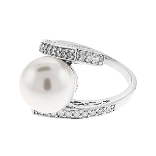 Sterling Silver with Large White Pearl with CZs - Ring Sizes: 5-9, 7