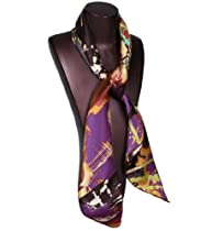 Grace Scarves, Wildflower, Large Square Satin Silk Scarf, Black/Brown/Purple