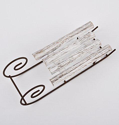 Schlitten-Xmas-Design-Deko-Objekt-Holz-Metall-6x21x7cm-weiss-Weihnachten