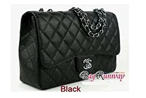 1 Piece / Hot Caviar leather Chanel 12 / 30 cm (Black)