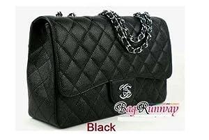1 Piece / Hot Caviar leather Chanel 12 / 30 cm (Black)