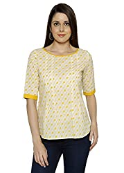 Funk For Hire Women Cotton Cambric Kite printed Pleated Top (Off-White, Size L)