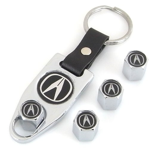 Acura Chrome Tire Valve Caps + Wrench Keychain (Acura Tires compare prices)