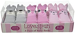 Lovespun Baby Friendly Forest Animals 3 Pack Gift Box Sock Set, Assorted, 0-12 Months