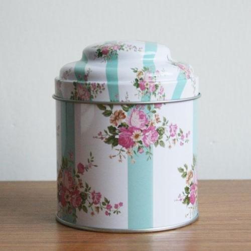 Retro Pink Rose Blue Stripe Kitchen Coffee Tea Sugar Container Jar Can Tin Metal