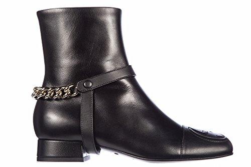 Gucci stivaletti stivali donna in pelle chain nero EU 37 388454 AEMP0 1000