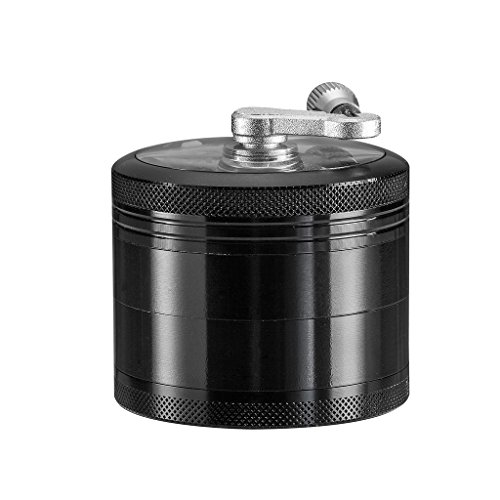 Siasky-Tobacco-Spice-Grinder-Herb-Weed-Grinder-with-Mill-Handle-4-Layers-25-Inches-Zinc-AlloyBlack