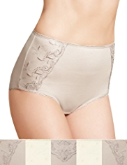 5 Pack Cotton Rich Embroidered Full Briefs