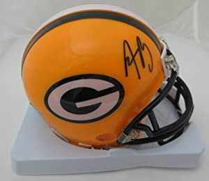Aaron Rodgers Autographed Green Bay Packers Signed Football Mini Helmet by Powers Collectibles