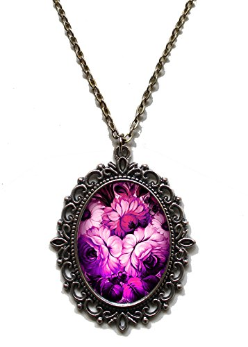 Victorian Vault Art Painting Floral Vintage Flowers Steampunk Pendant Necklace on Chain (Fuschia) (Flower Steams compare prices)