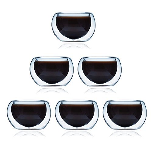 ELITEA Double Wall Glass Espresso Tea Cups Extra Thick Glasses Set of 6 (2 oz.fl) (Glass Expresso Cups Set compare prices)