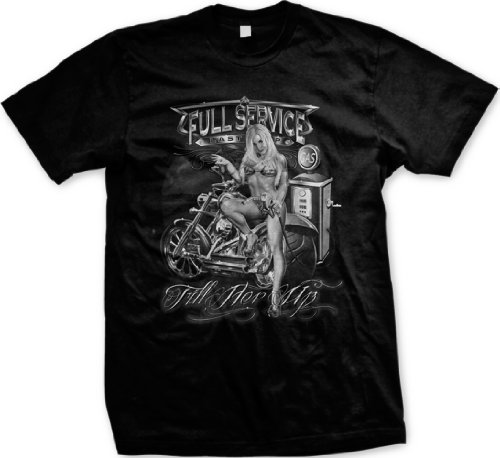 Full Service Fill Her Up Mens Biker T-shirt, Sexy Gas Station Lady Motorcycle Men's Tee Shirt, X-Large, Black