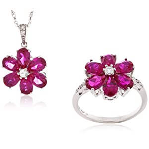Sterling Silver Created Ruby, Created White Sapphire and Diamond Flower Ring and Pendant Set (0.045cttw, I-J Color, I2-I3 Clarity), 18