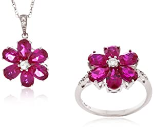 Sterling Silver Created Ruby, Created White Sapphire and Diamond Flower Ring and Pendant Necklace (0.045 cttw, I-J Color, I2-I3 Clarity), 18""