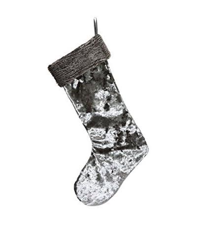 Aviva Stanoff Cobble Crushed Velvet Stocking with Faux Fur Trim