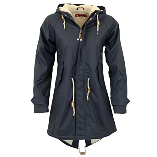 Derbe Frauen Winterjacke Travel Cozy Friese mit Fell navy blau