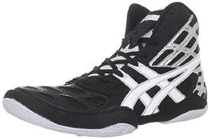ASICS Men's Split Second 9 Wrestling Shoe,Black/White/Silver,10.5 M US