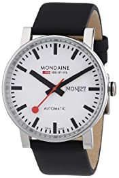 Mondaine Evo Automatic Men's Watch with White Dial Analogue Display and Black Leather Strap A1323034811SBB