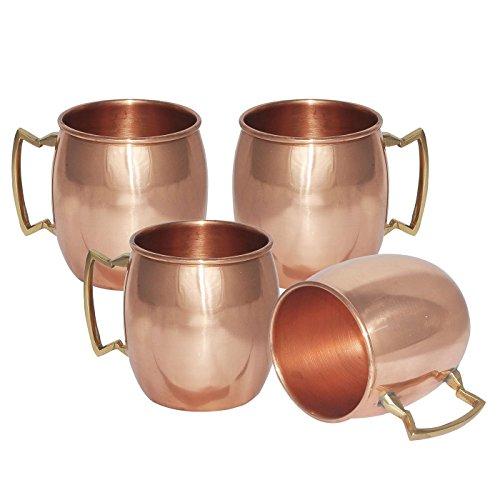 TeraShopee ® Lot de 4 tasses en cuivre massif pour Moscow Mules Finition laquée 550ml