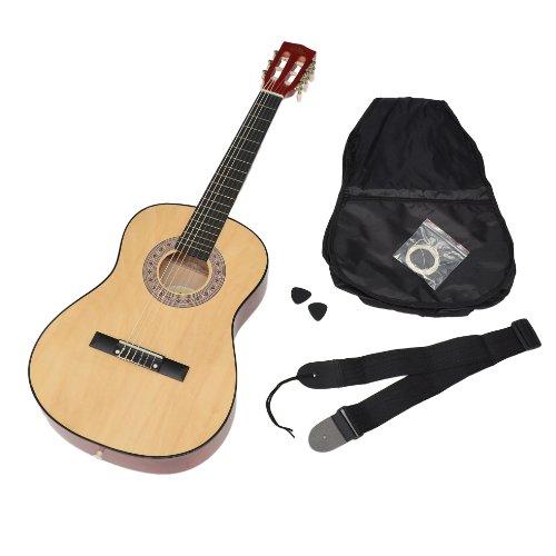 ts-ideen-5261-Guitarra-acstica-infantil-tamao-34-nios-de-8-a-12-aos-incluye-funda-correa-cuerdas-y-pa-color-madera-natural