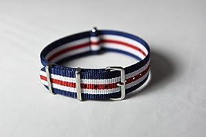 NATO G10 Nylon Fabric Canvas Premium Quality Watch Band Strap - 20mm / Blue White Red - (Military Army J. Crew Timex Weekender Daniel Wellington)
