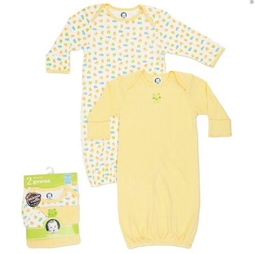 Gerber Unisex-Baby Newborn 2 Pack Lap Shoulder Gown, 0-6 Months