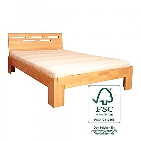 Bett 140x200 cm Massivholz Holzbett Birke geölt, wahlweise mit Kopfteil, Kopfteilauswahl:Mit Kopfteil