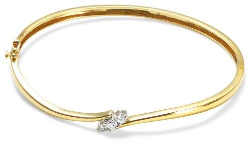 0.25 Carat Diamond 4 Claw Setting Bangle in 9ct Yellow Gold