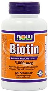 NOW Foods Biotin 5000mcg, 120 Vcaps