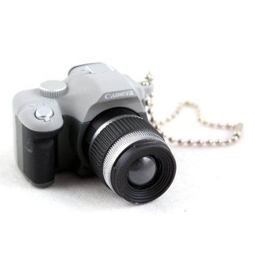 Mini Grey Slr Camera Toy Keychain Keyring Flash Torch Charm Ornament Decoration