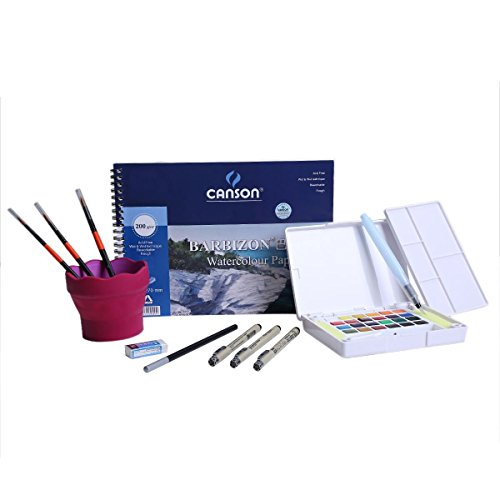 MEEDEN Sakura 24 Colors Watercolor Sketch Box Travel Pan Sets with 3 Pcs Fine Line Pens, 3 Round Pointed Brush, 1 Charcoal Pencil, 1 Eraser, 1 Water Pot and 1 Watercolor Pad (Watercolor Pots compare prices)