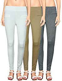 NGT Womens White, Beige And Grey Color Jegging In Special Quality.