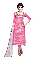 DnVeens Pink Womens A- Line Dress Material