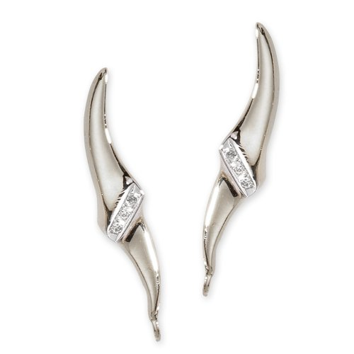 The Ear Pin Diamond Accent Center Tapered Tips Sterling Silver Earrings