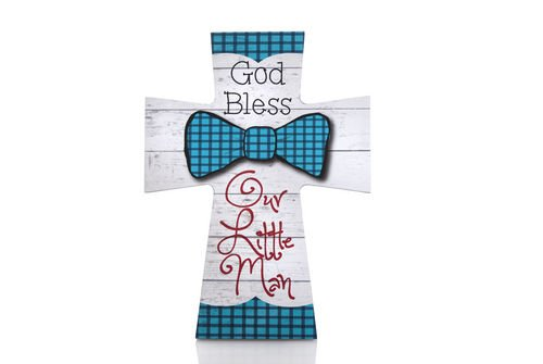 """God Bless Our Little Man"" Cross Wall Decor Plaque 10"" Tall"