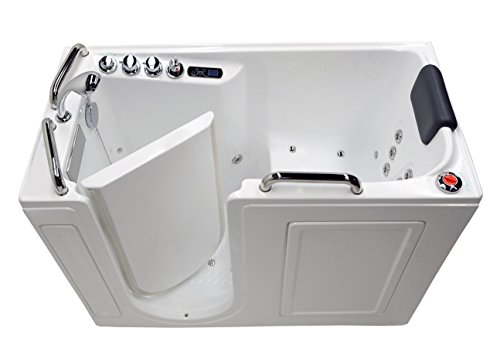 "Buy 27"" x 53"" Left Drain Air & Whirlpool Fully Loaded Walk In Bathtub 2753 White Tub"