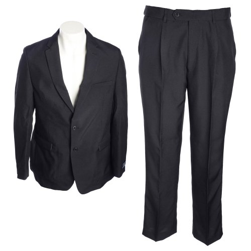 Thomas Brooks Mens 2 Piece Black Machine Washable Suit in Size Medium