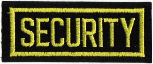 Security - Yellow On Black - Embroidered Iron On Or Sew On Patch front-105715