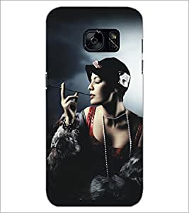PrintDhaba Hat Girl D-5292 Back Case Cover for SAMSUNG GALAXY S7 (Multi-Coloured)