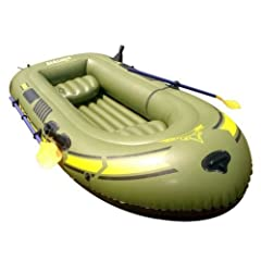 Buy Inflatable Pontoon Fishing Boat for 3 Person Outdoor River Rafting with Pump 3 Life Jacket Oars Paddles by ST