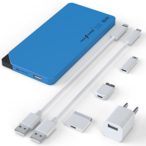 Today's Deal! PermaCharger Portable Ultra-Thin 8,000 mAh USB Power Pack for iPhone/Android/Tablet/Many Other Devices. Built-In Micro&Male Adapter w/ 5 FREE Cellphone Cables & 1 Wall Adapter [Blue] (8000 Mah Battery Pack Charger compare prices)