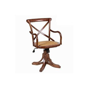 Sedia in legno e tela di iuta, girevole