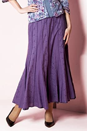 Per Una Pure Cotton Broderie Embroidered Panelled Skirt [T62-4461H-S-HFPR]